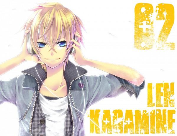 Tags: Anime, Ragi (Pluie), VOCALOID, Kagamine Len, Hand on Headphones, Pixiv, Len Kagamine