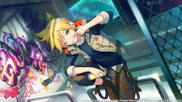 Tags: Anime, Colorful Palette, Project Sekai Colorful Stage! feat. Hatsune Miku, VOCALOID, Kagamine Len, Graffiti, Wallpaper, Official Card Illustration, Official Art, Len Kagamine