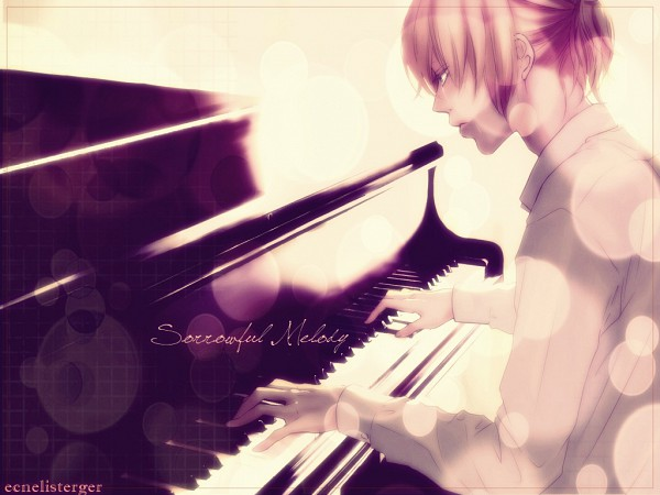 Tags: Anime, Yunomi, VOCALOID, Kagamine Len, Playing Piano, Piano Keys, Wallpaper, Edited, Len Kagamine