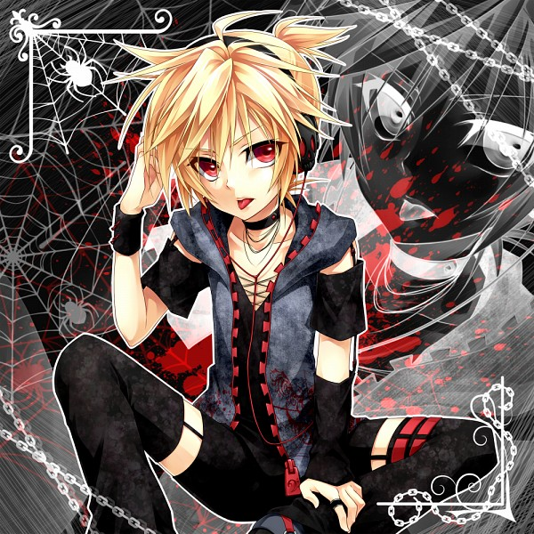 Tags: Anime, Ueno Tsuki, VOCALOID, Kagamine Len, Hand on Headphones, Spider, Len Kagamine
