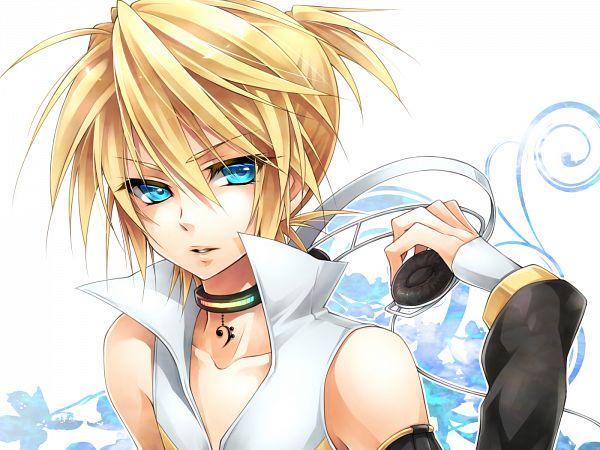 Tags: Anime, Ueno Tsuki, VOCALOID, Kagamine Len, Hand on Headphones, Append, Len Kagamine
