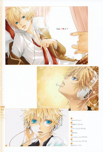 Tags: Anime, Hakuseki, Hatsune Miku Graphics Character Collection Cv02 Kagamine Rin/Len, VOCALOID, Megurine Luka, Kagamine Len, Face Up, Scan, Mobile Wallpaper, Len Kagamine