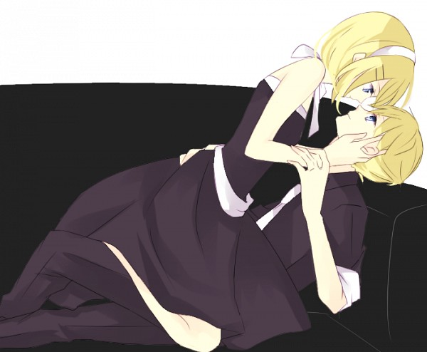 Tags: Anime, Pixiv Id 3369423, VOCALOID, Kagamine Rin, Kagamine Len, Laying on Couch, Fanart, Pixiv, Kagamine Mirrors
