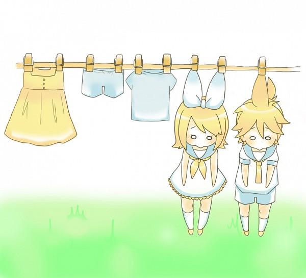 Tags: Anime, Pixiv Id 1744149, VOCALOID, Kagamine Len, Kagamine Rin, Laundry, Hanging, Pixiv, Kagamine Mirrors