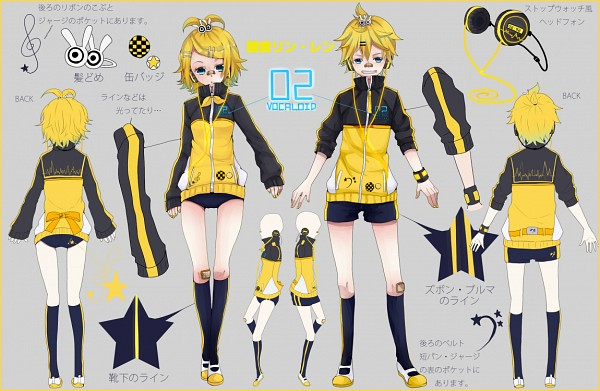 Tags: Anime, Tuyuki Orikyara, Project DIVA F, VOCALOID, Kagamine Len, Kagamine Rin, Rabbit Clip, Patch On The Nose, Character Sheet, Project DIVA Stylish Energy, Kagamine Mirrors