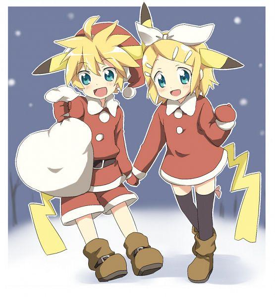 Tags: Anime, Punchiki, VOCALOID, Kagamine Len, Kagamine Rin, Pokémon (Cosplay), Fanart, Kagamine Mirrors