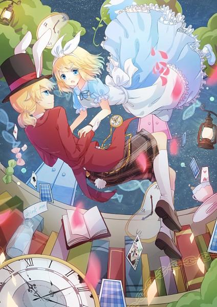 Tags: Anime, Emia Wang, VOCALOID, Kagamine Len, Kagamine Rin, Alice in Wonderland (Parody), White Rabbit (Cosplay), Alice (Alice in Wonderland) (Cosplay), Pixiv, Fanart From Pixiv, Mobile Wallpaper, Fanart, Kagamine Mirrors