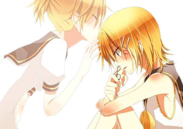 Tags: Anime, Pixiv Id 2951219, VOCALOID, Kagamine Len, Kagamine Rin, Transparent Body, Fetal Position, Fanart, Kagamine Mirrors