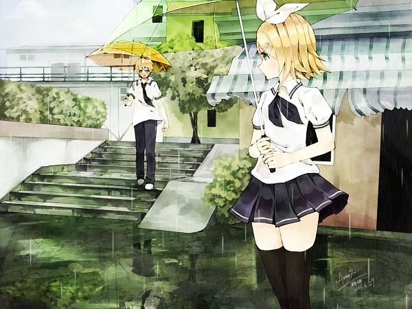 Tags: Anime, Pixiv Id 3490137, VOCALOID, Kagamine Len, Kagamine Rin, Transparent Object, See Through Umbrella, Yellow Umbrella, Kagamine Mirrors