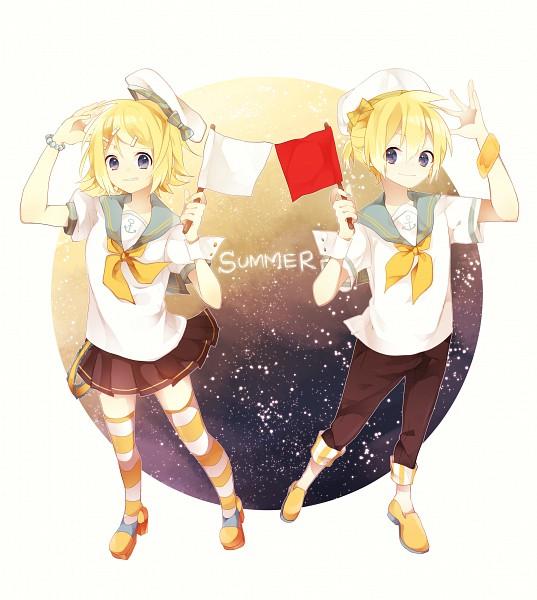 Tags: Anime, Pixiv Id 10538846, VOCALOID, Kagamine Len, Kagamine Rin, White Flag, Anchor, Orange Footwear, Fanart From Pixiv, Fanart, Pixiv, Kagamine Mirrors