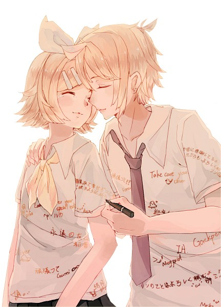 Tags: Anime, Pixiv Id 3490137, VOCALOID, Kagamine Rin, Kagamine Len, Marker, Fanart From Pixiv, Fanart, Mobile Wallpaper, Pixiv, Kagamine Mirrors