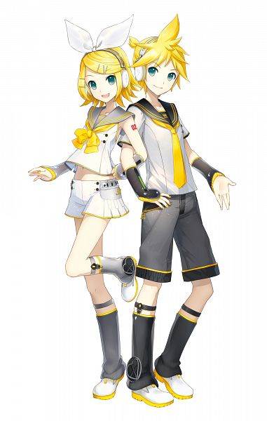 Tags: Anime, iXima, VOCALOID, Kagamine Len, Kagamine Rin, White Shorts, Gray Legwear, Gray Armwear, PNG Conversion, V4, Official Art, Mobile Wallpaper, Cover Image