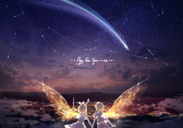 Tags: Anime, Kinoko Hime, VOCALOID, Kagamine Rin, Kagamine Len, One Wing, White Shorts, Transparent Wings, Shooting Stars, Constellation, Fanart, Fanart From Pixiv, Pixiv