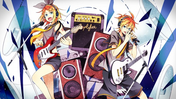 Tags: Anime, Ryou (Pixiv247657), VOCALOID, Kagamine Len, Kagamine Rin, Electric Guitar, Guitar Strap, Speaker, Pixiv, Fanart, Facebook Cover, Wallpaper, Fanart From Pixiv