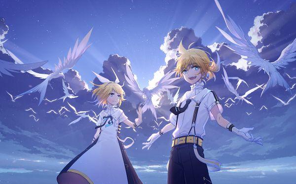 Tags: Anime, Pixiv Id 10489689, VOCALOID, Kagamine Len, Kagamine Rin, Animal on Hand, Bird on Hand, White Bird, Pixiv, Hatsune Miku Symphony, Kagamine Mirrors