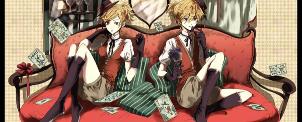 Tags: Anime, Yuki (Pixiv3125265), VOCALOID, Kagamine Len, Kagamine Rin, Fanart, Pixiv, Facebook Cover, Kagamine Mirrors