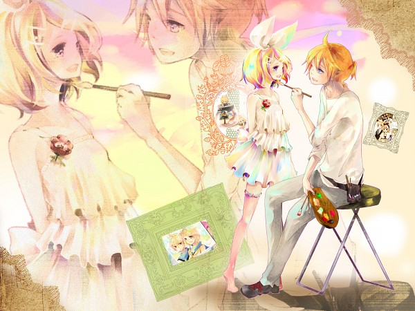 Tags: Anime, Pixiv Id 233172, VOCALOID, Kagamine Rin, Kagamine Len, Painting (Action), Brush, Painting (Object), Soundless Voice, Wallpaper, Adolescence, Song-Over, Kagamine Mirrors