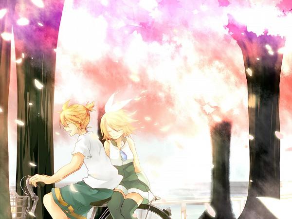 Tags: Anime, Ryou (Pixiv247657), VOCALOID, Kagamine Len, Kagamine Rin, Spring, Sidesaddle, Sakura Fiction, Wallpaper, Kagamine Mirrors