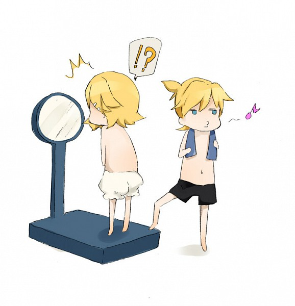 Tags: Anime, Natsu (Pixiv1501671), VOCALOID, Kagamine Len, Kagamine Rin, Whistling, Working Out, Kagamine Mirrors