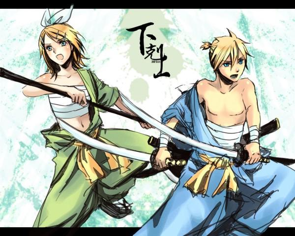 Tags: Anime, Kai (Pixiv93444), VOCALOID, Kagamine Len, Kagamine Rin, Kagamine Mirrors