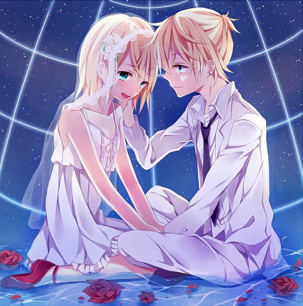 Tags: Anime, Ryouka (Pixiv1490115), VOCALOID, Kagamine Len, Kagamine Rin, Sitting In Water, Pixiv, PNG Conversion, Fanart, Kagamine Mirrors