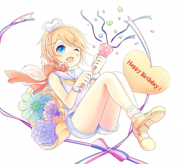 Tags: Anime, Sakakidani, Pixiv Id 392959, VOCALOID, Kagamine Rin, Party, Orange Bow, Streamers, Rin Kagamine