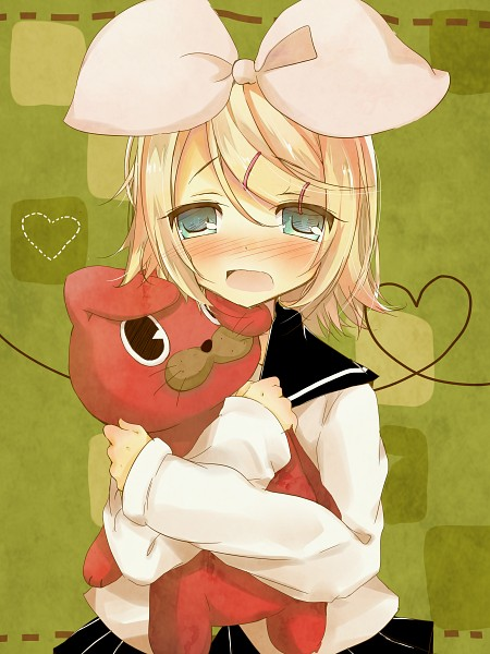 Tags: Anime, VOCALOID, Kagamine Rin, Hugging Toy, Su-Su-Su-Su Suki Daisuki, Rin Kagamine