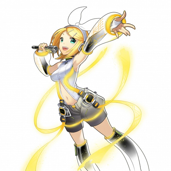 Tags: Anime, CyberAgent, Uchi no Hime-sama ga Ichiban Kawaii, VOCALOID, Kagamine Rin, Leg Warmers, Gray Shorts, Music Staff, Puffy Shorts, PNG Conversion, Artist Request, Official Art, Append, Rin Kagamine