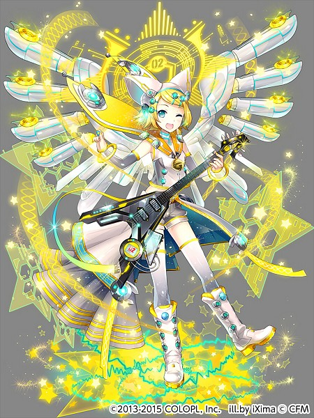 Tags: Anime, iXima, COLOPL, Mahoutsukai to Kuroneko no Wiz, VOCALOID, Kagamine Rin, Mechanical Wings, Guitar Pick, Gray Shorts, Electric Guitar, Official Art, Mobile Wallpaper, Official Card Illustration, Rin Kagamine