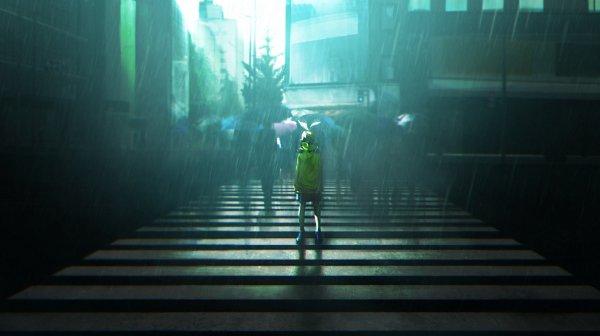 Tags: Anime, Pixiv Id 27006484, VOCALOID, Kagamine Rin, Dark Colors, Lonely, Crosswalk, Yellow Outerwear, Rain Coat, Fanart From Pixiv, Wallpaper, Pixiv, Fanart, Rin Kagamine