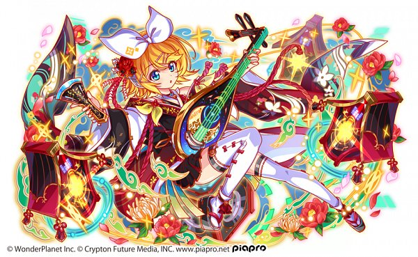 Tags: Anime, Wonderplanet Inc., Crash Fever, VOCALOID, Kagamine Rin, Wooden Sandals, Lute, Camel, Biwa Lute, Official Art, Rin Kagamine