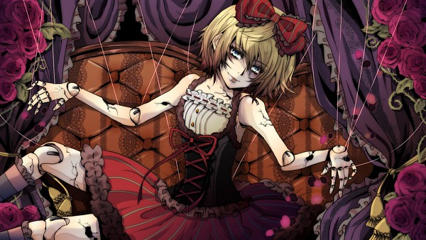 Tags: Anime, Pixiv Id 2192852, VOCALOID, Kagamine Rin, Ball Jointed Doll, Marionette, Cracks, Dolls (Song), Facebook Cover, Rin Kagamine