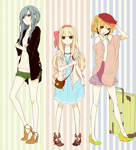 Tags: Anime, Abararack, Kagerou Project, Kido Tsubomi, Kisaragi Momo, Kozakura Marry, Bright Colors, Suitcase, Pixiv