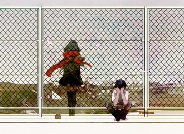 Tags: Anime, Pixiv Id 2112266, Kagerou Project, Tateyama Ayano, Kisaragi Shintaro, School Rooftop, Roof, Covering Face, Pixiv, Fanart, Fanart From Pixiv, ShinAya