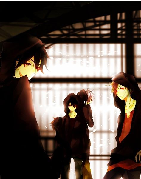 "Tags: Anime, Pixiv Id 4341524, Kagerou Project, Amamiya Hibiya, Seto Kousuke, Kisaragi Shintaro, Kano Shuuya, Kokonose ""Konoha"" Haruka, Fanart From Pixiv, Pixiv, Fanart"