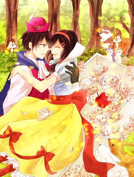 Tags: Anime, Pixiv Id 3628105, Kagerou Project, Tateyama Ayano, Kisaragi Shintaro, Prince (Snow White and the Seven Dwarfs) (Cosplay), Snow White (Cosplay), Raccoon, Fanart, Fanart From Pixiv, Pixiv, ShinAya