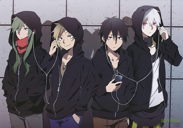 "Tags: Anime, Shaft (Studio), Kagerou Project, Kisaragi Shintaro, Kano Shuuya, Kokonose ""Konoha"" Haruka, Kido Tsubomi, Shared Earphones, Magazine (Source), Official Art, Animage"