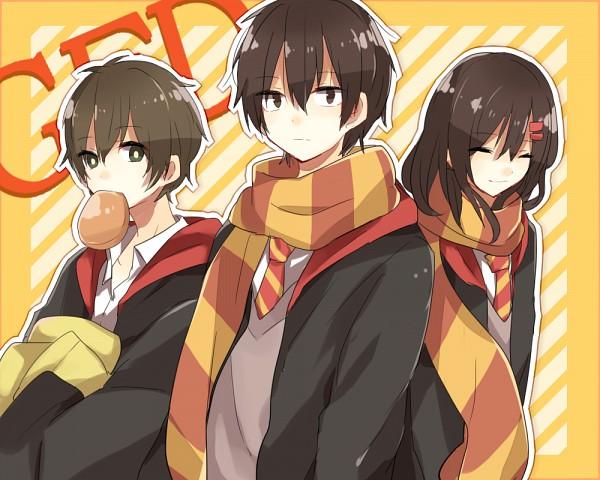 "Tags: Anime, Pixiv Id 6427198, Kagerou Project, Tateyama Ayano, Kisaragi Shintaro, Kokonose ""Konoha"" Haruka, Harry Potter (Cosplay), Fanart, Fanart From Pixiv, PNG Conversion, Pixiv, Gryffindor House"