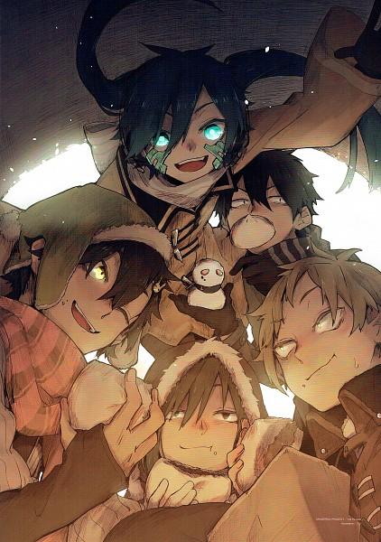 Tags: Anime, Sidu, Kagerou Project, Seto Kousuke, Kisaragi Shintaro, Enomoto Takane, Kano Shuuya, Kido Tsubomi, Official Art, Scan, Mobile Wallpaper