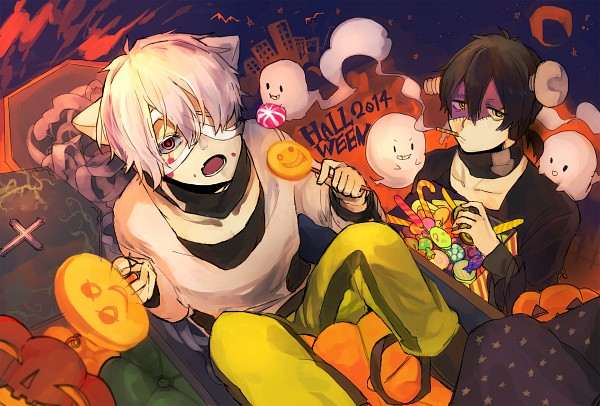 "Tags: Anime, Pixiv Id 2217268, Kagerou Project, Dark Konoha, Kokonose ""Konoha"" Haruka, Screws, Screw In Head, Yellow Pants, Candy Cane, Grave, PNG Conversion, Fanart, Pixiv"