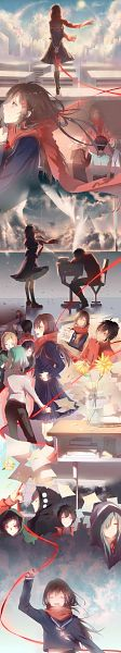 Tags: Anime, Pixiv Id 13695413, Kagerou Project, Seto Kousuke, Kisaragi Shintaro, Kano Shuuya, Kido Tsubomi, Tateyama Ayano, Stack Of Books, School Desk, Fanart, Fanart From Pixiv, Pixiv, The Story Of The Children That Rise Against