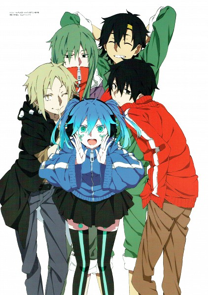 Tags: Anime, Shaft (Studio), Kagerou Project, Seto Kousuke, Kisaragi Shintaro, Enomoto Takane, Kano Shuuya, Kido Tsubomi, Official Art, The Story Of The Children That Rise Against