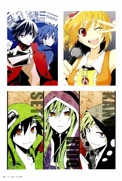 Tags: Anime, Kagerou Project, Kano Shuuya, Kisaragi Momo, Kido Tsubomi, Seto Kousuke, Kisaragi Shintaro, Enomoto Takane, Artist Request, Official Art, The Story Of The Children That Rise Against