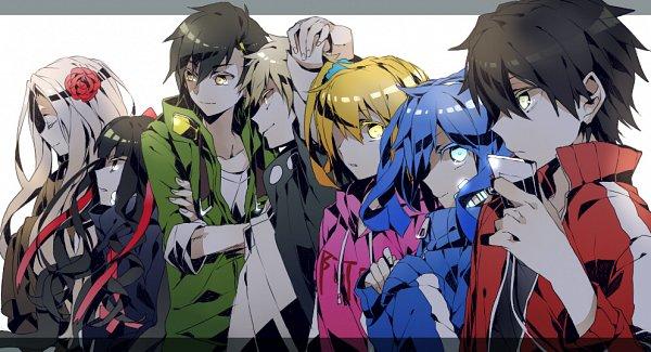 Tags: Anime, Daburyuu, Kagerou Project, Kano Shuuya, Enomoto Takane, Azami (Kagerou Project), Kisaragi Momo, Seto Kousuke, Kozakura Shion, Kisaragi Shintaro, Fanart From Pixiv, Facebook Cover, Pixiv