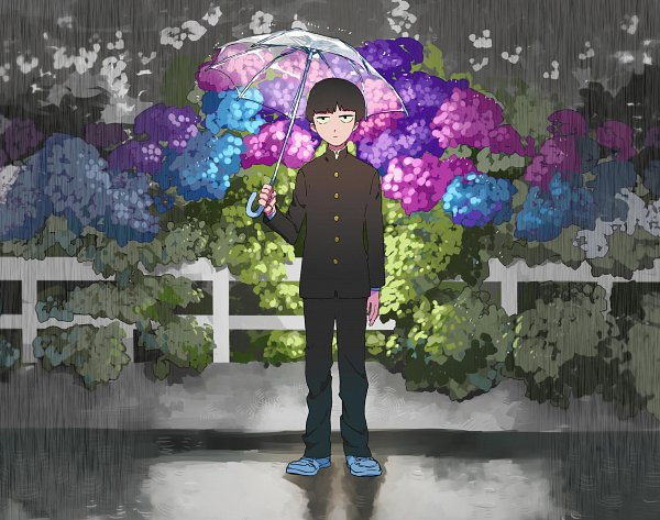Tags: Anime, Pixiv Id 13601305, Mob Psycho 100, Kageyama Shigeo, Puddle, Transparent Object, Small Pupils, See Through Umbrella, Pixiv, Fanart, Fanart From Pixiv