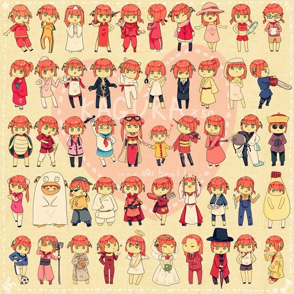 Tags: Anime, Pixiv Id 3619210, Gintama, Kagura (Gin Tama), Gura (Gin Tama), Red Curry Ninja, Sakata Gintoki (Cosplay), Towel On Head, Swirly Glasses, Chainsaw, Renho Costume, Chocolate Box, Mayonnaise Costume