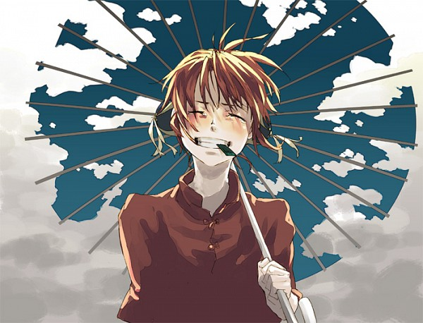 Tags: Anime, Leuco, Gintama, Kagura (Gin Tama), Kombu, Sky Print, Sky Umbrella, Pray For Japan