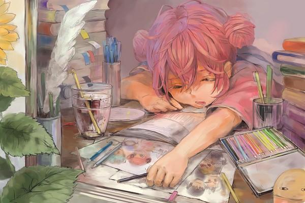 Tags: Anime, Pixiv Id 1875120, Gintama, Kagura (Gin Tama), Justaway, Pins, Toothbrushing, 1200x800 Wallpaper, Quill Pen, Toothbrush, Drawing (Action), Pencil Case, Drawing (Object)