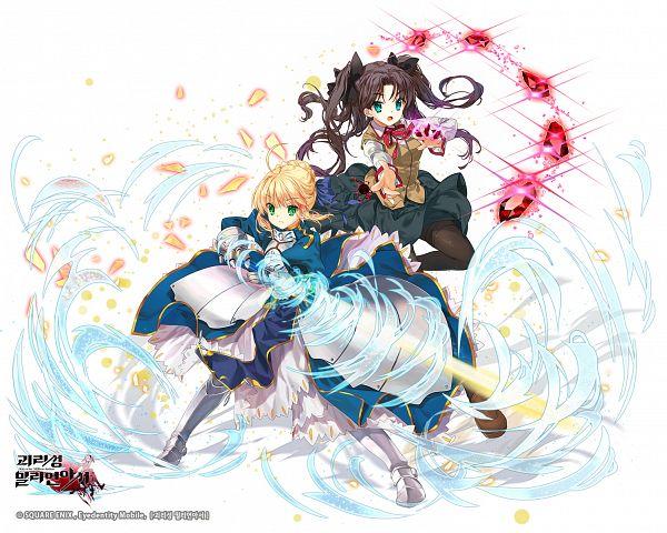 Tags: Anime, mintchoco (Pixiv1124380), SQUARE ENIX, Kai-ri-sei Million Arthur, Fate/stay night, Tohsaka Rin, Saber (Fate/stay night), Official Art, Pixiv, PNG Conversion