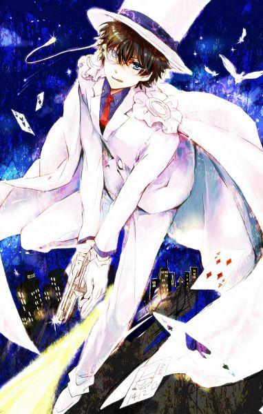 Tags: Anime, Serinavvv, Magic Kaito, Kuroba Kaito, Kaitou Kid, Aiming Down, Mobile Wallpaper, Pixiv, Fanart